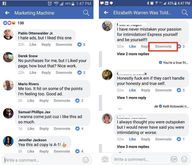 Downvote facebook
