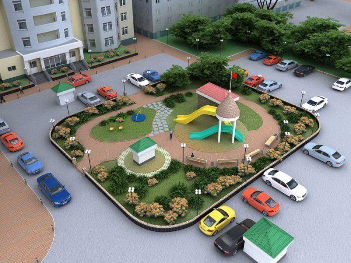 Фото озеленения многоквартирных домов